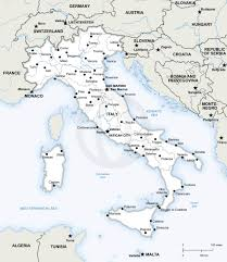 Map Italy Silhouettes Italian Cities by Italy Vector Map