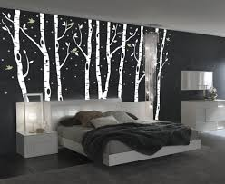 birch tree decor birch tree forest decal with snow and birds winter on white wall