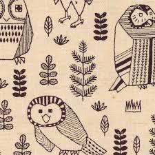 Owl Fabric White Canvas Kokka Japan Cute Birds Enchanted