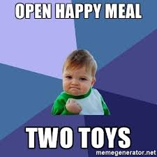 Meme Generator Two Pictures - open happy meal two toys success kid meme generator
