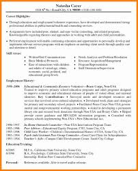 Employment History Resume 6 Resume Volunteer Experience Applicationleter Com