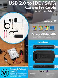 amazon com usb hard drive converter fosmon usb 2 0 to ide sata
