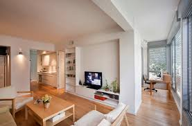 Hardwood Floor Apartment Small Apartment Interior Design With Wooden Floor And Big Glass