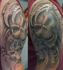 evil bio skull cover up by jwheelwrighttattoos on deviantart