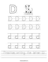 practice writing the letter d worksheet twisty noodle harfler