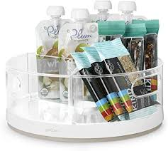 how to organize a lazy susan cabinet youcopia susan kitchen cabinet turntable and snack organizer with bins