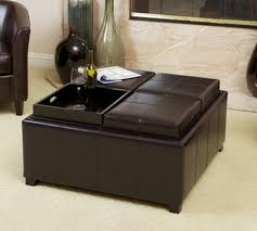 creative of leather storage ottoman with tray with plymouth