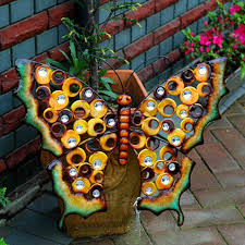 home garden ornament outdoor metal butterfly garden yark hanging