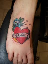 name banner heart with rose tattoo on foot photo 3 photo