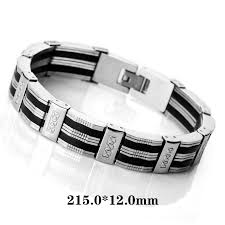 bracelet stainless steel images Fancy men 39 s link wrist bracelet stainless steel bracelet rubber jpg