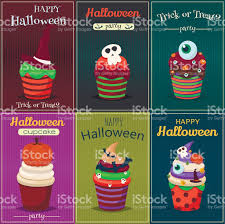 happy halloween scary images cupcake vector set happy halloween scary sweets poster stock