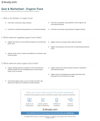 quiz u0026 worksheet organic food study com