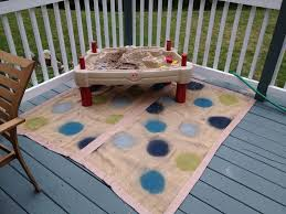 Painting An Outdoor Rug Burlap Duct Spray Paint Outdoor Rug For The Play Area I