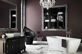 gothic bathroom style with brown walls and black vanity with