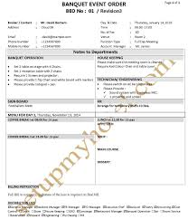 Banquet Program Templates Banquet Function Plan Event Order Form Fp Beo Sample