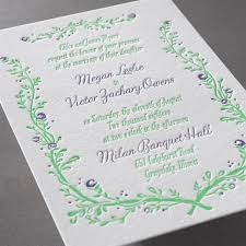flowers and vines letterpress invitation invitations by