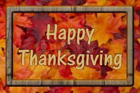 happy thanksgiving greeting fall leaves background and text