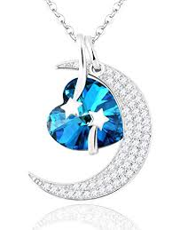 blue diamond necklace gem images Quot i love you to the moon back and back quot blue heart gems jpg