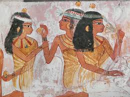 ladies offering a lemon and a mandragora root to another lady ancient egyptians valued perfume we know this due to the discovery of beautiful fragrance flacons used to hold unguents scented with tree resins and sweet