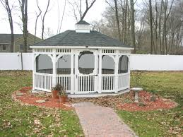 Enclosed Backyard In Vogue White Enclosed Gazebo With Single Roofs As Decorate