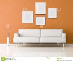 orange livingroom white sofa in a orange living room stock illustration
