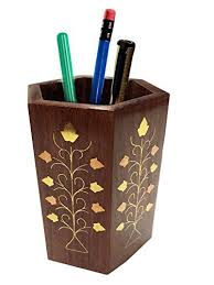 Gifts For Office Desk Handicraft Wooden Pen Stand Flower Inlay Design Octal Pen Pencil