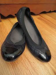 Comfortable Black Ballet Flats Stuart Weitzman Black Ballet Flat Quilted Leather Patent Cap Toe