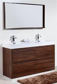 Modern Walnut Bathroom Vanity 60 Floor Moun Sink Walnut Modern Bathroom Vanity