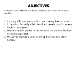 adjectives in sentences ch 01 adjectives verbs adverbs prepositions conjuntions interje