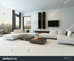 Living Room With Furniture Modern White Living Room Wooden Furniture Stock Illustration