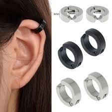 clip on earrings for men 1pair circle hoop non piercing clip on earrings men stainless