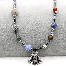 beaded silver necklace images 9 planets solar system astronaut pendant necklace meditation jpg