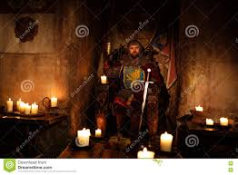 medieval king on throne in ancient castle interior stock photo