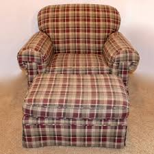 oversize plaid upholstered easy chair ottoman ebth