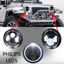 round led lights for jeep 7 inch round led headlights halo angle eyes for jeep 97 2015