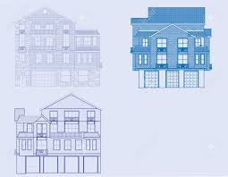 a front view of three houses in blueprint form royalty free