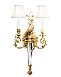 Sconces With Shades Brass Peacock 2 Lights Wall Sconces With Fabric Shades Parrotuncle
