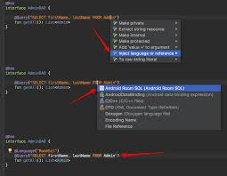 android room how to highlight sql syntax of room dao in android studio stack