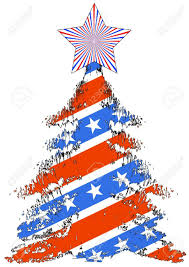 Pine Tree Flag Christmas Trees From American Flag On A White Background Royalty
