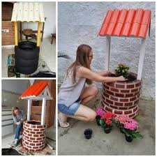 wishing well planter using recycled items