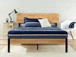 amazon com zinus tuscan metal u0026 wood platform bed with wood slat