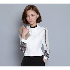 contrast lace blouse high neck long sleeve women u0027s clothing office