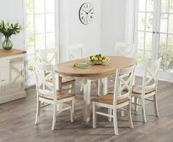 Buy Mark Harris Cheyenne Oak And Cream Oval Extending Dining Table - Cream kitchen table