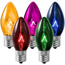 25 pack transparent multi color c9 light bulbs 7 watt