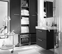 black and white and blue bathroom
