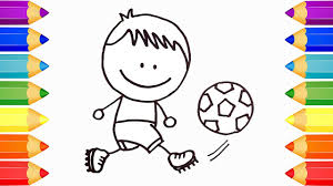 boy playing soccer drawing coloring pages for kids art colors