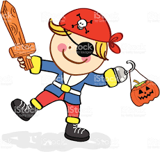 kid with pirate halloween costume cartoon illustration stock