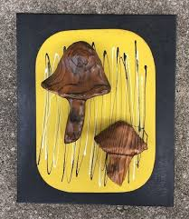 mcm witco decor mushrooms wall hanging wood sculpture mid century