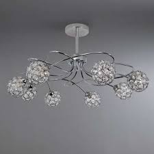 Sphere Ceiling Light Chrome 8 Sphere Ceiling Light Fitting Dunelm