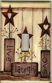 light switch plate cover country home decor aged barn stars